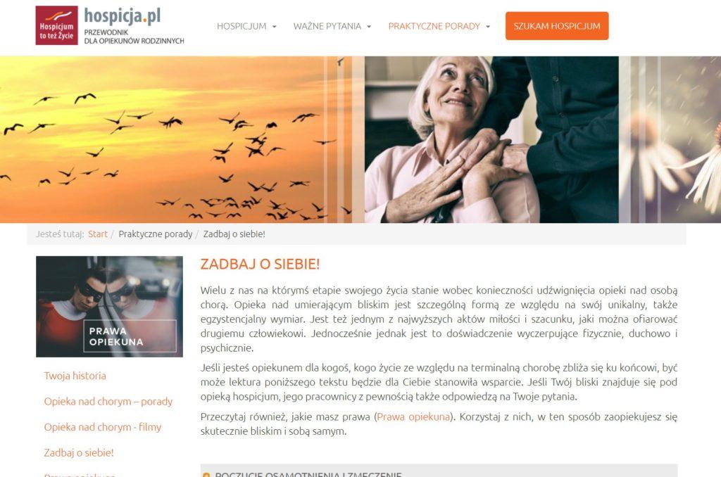 Strona internetowa: HOSPICJA.PL – TREŚCI