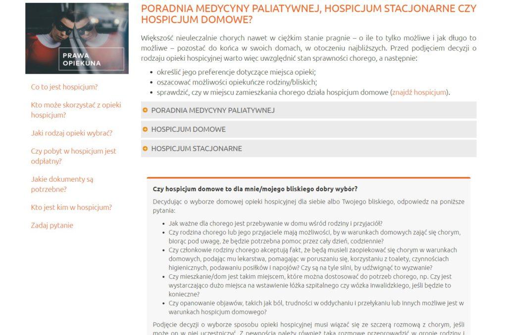 Serwis internetowy: HOSPICJA.PL – TREŚCI