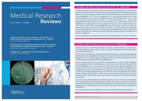 Czasopismo: MEDICAL RESEARCH REV.
